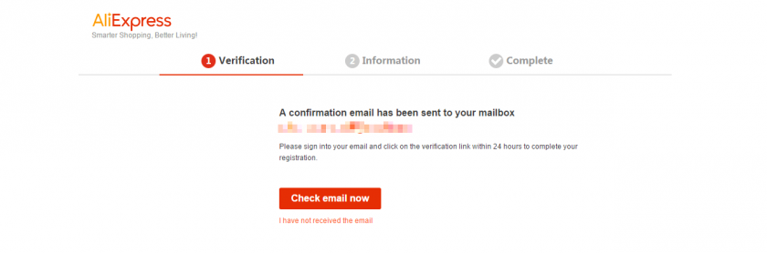 AliExpressの登録画面2。メールが送られてくる。