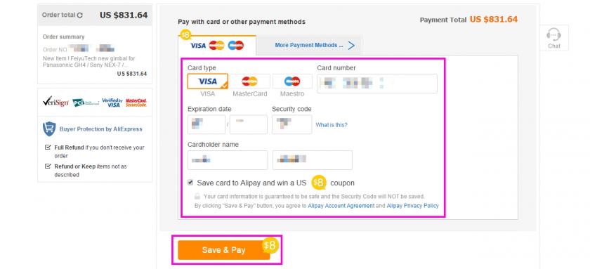 AliExpress の支払方法選択画面からカード情報などの入力に進んだ状態。