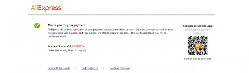 AliExpress で支払いが完了した画面。