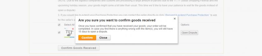 AliExpress のオーダー進行画面。商品の受け取りと確認が完了した状態で Confirm Goods Received を実行した様子。