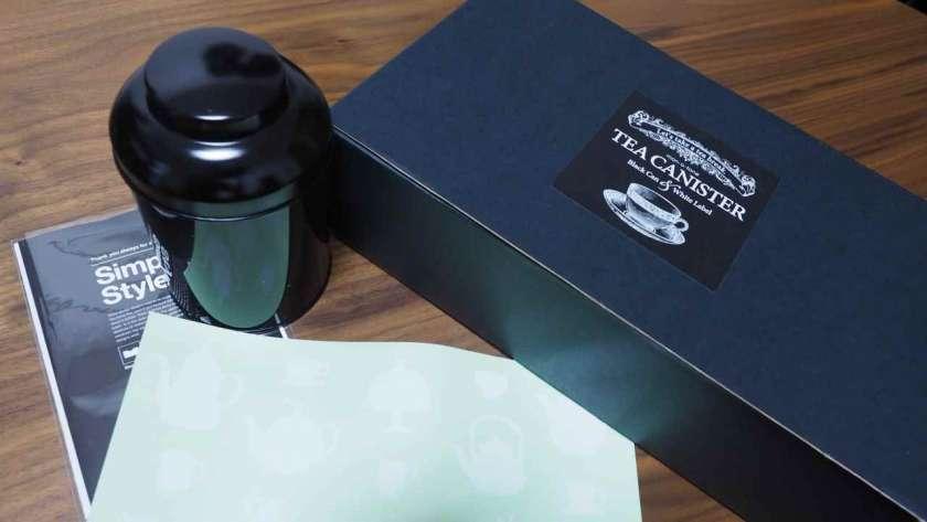 黒い Tea Canister の梱包物。