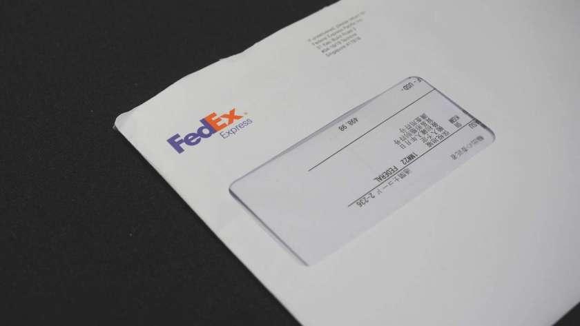 Fedex から届いた請求書の封筒。