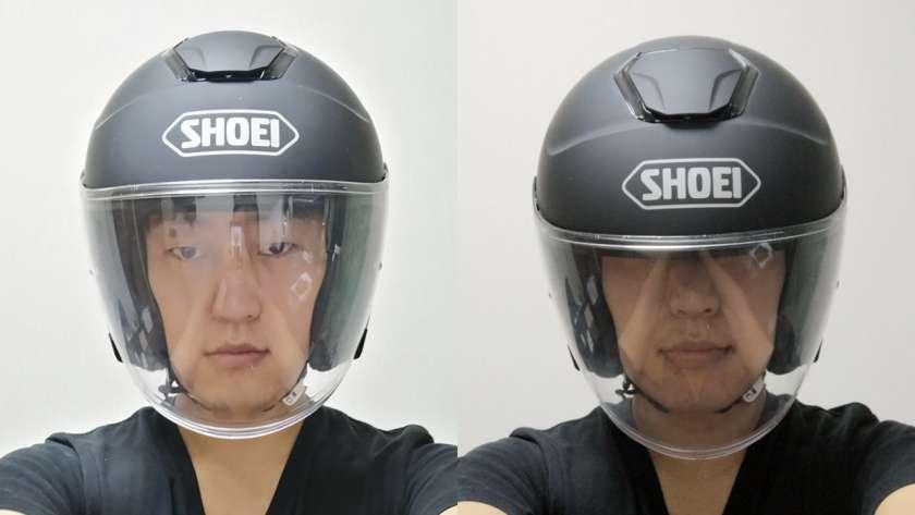 ヘルメットが回ってしまっている様子。