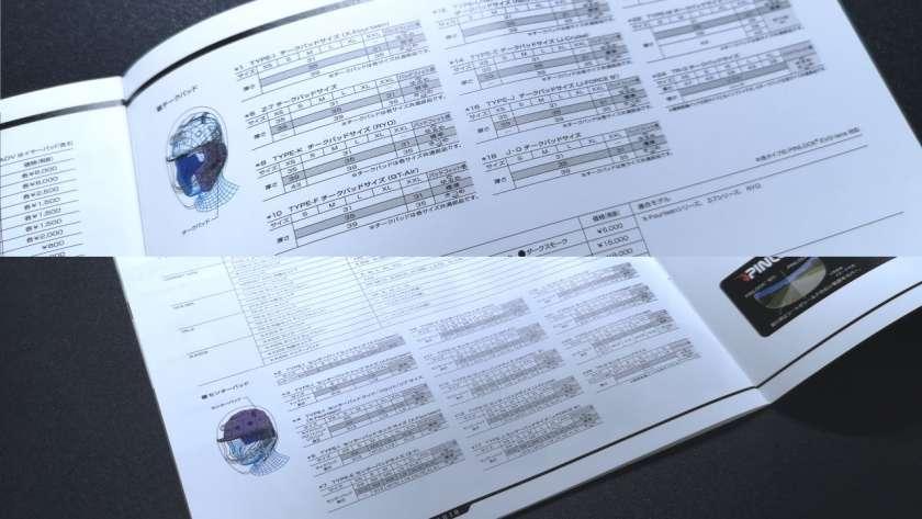 ヘルメットのオプションパーツカタログ。