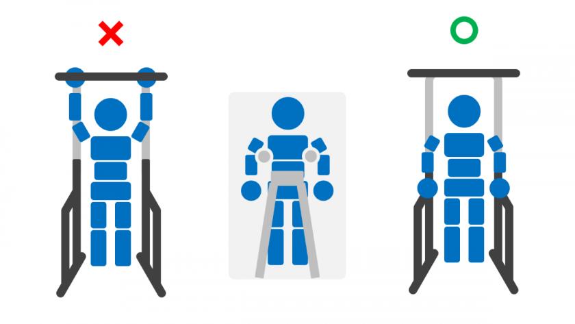 ぶら下がり時の姿勢と牽引時の姿勢を比較したイメージ。