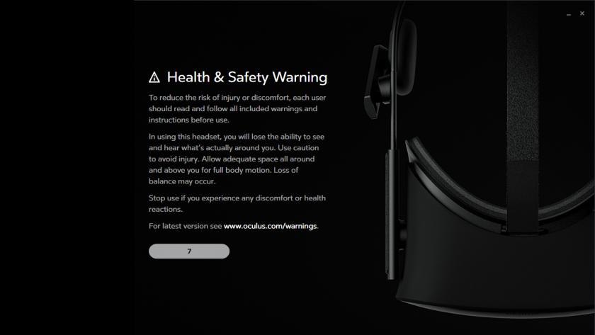OculusRift の警告文表示例。