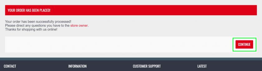 ZEEDPARTSの注文完了後画面。
